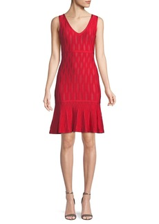 Herve Leger Sleeveless Lightweight Tonal Jacquard Cocktail Dress w/ Mesh
