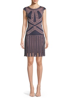 Herve Leger Sleeveless Round-Neck Fringe-Skirt Fitted Dress