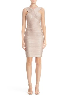 Herve Leger 'Stella' Crisscross Front Woodgrain Metallic Foil Bandage Dress