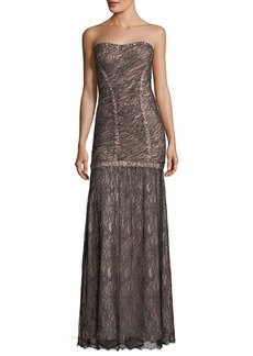 Herve Leger Strapless Lace Overlay Evening Gown