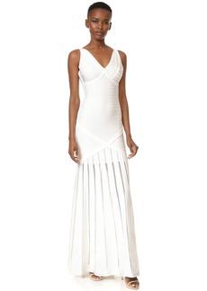 Herve Leger V Neck Gown with Pointelle Skirt