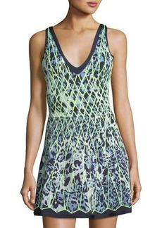Herve Leger V-Neck Leopard-Print Cocktail Dress