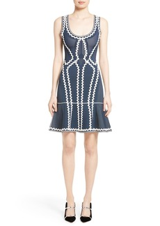 Herve Leger Zigzag Flutter Hem Dress