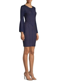 Herve Leger Jacquard Bell Sleeve Sheath Dress