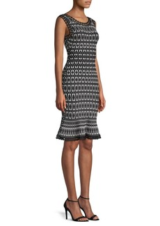 Herve Leger Jaquard Flutter-Hem Dress