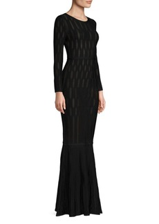 Herve Leger Long-Sleeve Jacquard Dress