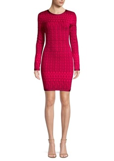 Herve Leger Long Sleeve Jacquard Dress