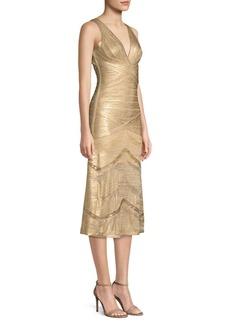 Herve Leger Metallic V-Neck Bandage Dress