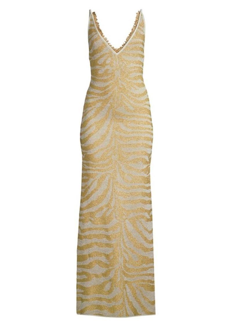 Herve Leger Metallic Zebra V-Neck Gown