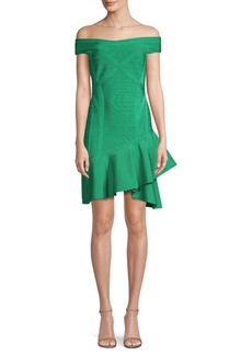 Herve Leger Nicole Off-The-Shoulder Ruffle Dress