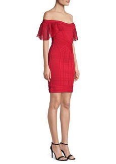 Herve Leger Off-The-Shoulder Knit Sheath Dress