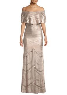 Herve Leger Off-the-Shoulder Bandage & Foil Knit Evening Gown