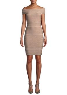 Herve Leger Off-The-Shoulder Bandage Dress