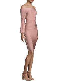 Herve Leger Off-The-Shoulder Bell-Sleeve Cocktail Dress