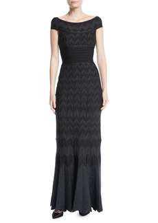 Herve Leger Off-the-Shoulder Chevron Metallic-Knit Evening Gown