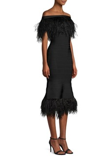 Herve Leger Off-The-Shoulder Feather Bandage Dress
