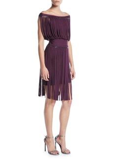 Herve Leger Off-the-Shoulder Fringe & Hardware Cocktail Dress