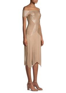 Herve Leger Off-The-Shoulder Fringe Dress