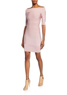 Herve Leger Off-the-Shoulder Icon Ribbed Dress