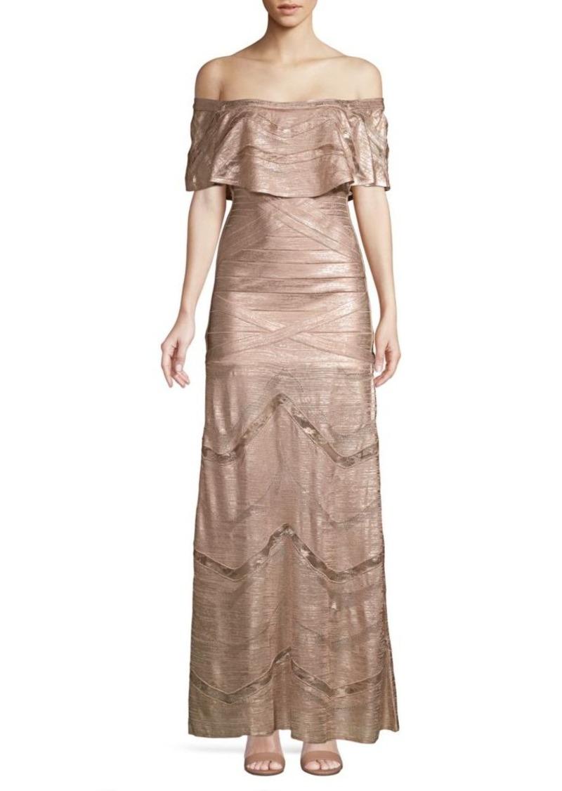 Herve Leger Off-the-Shoulder Metallic Ruffle Gown