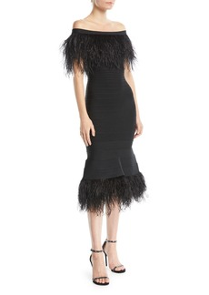 Herve Leger Off-the-Shoulder Ostrich-Feather Bandage Cocktail Dress