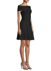 Herve Leger Off-The-Shoulder Scallop Jacquard Dress