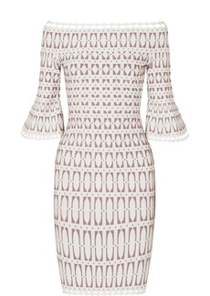 Herve Leger Off-the-shoulder Stretch Jacquard-knit Dress