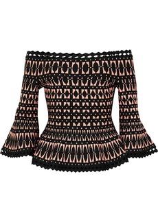 Herve Leger Off-the-shoulder Stretch Jacquard-knit Peplum Top