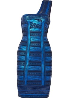 Herve Leger One-shoulder Metallic Printed Stretch-knit Mini Dress