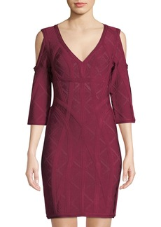 Herve Leger Pointelle Cold-Shoulder Cocktail Dress