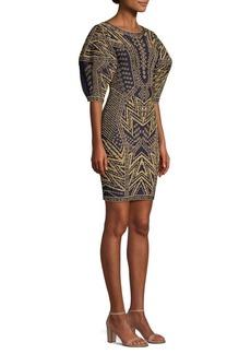 Herve Leger Puff-Sleeve Jacquard Dress