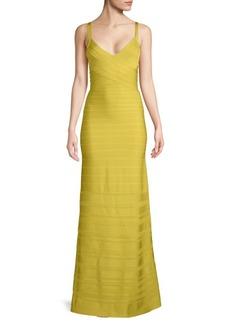 Herve Leger Ribbed Evening Dress