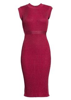 Herve Leger Ribbed Lurex Midi Dress