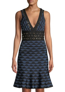 Herve Leger Scalloped Jacquard Ring-Trim Sleeveless Dress