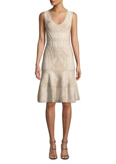 Herve Leger Scoop-Neck Sleeveless Shimmery Flounce Dress