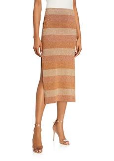 Herve Leger Shimmer-Striped Slit-Hem Skirt
