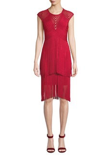 Herve Leger Short-Sleeve Fringed Mesh Illusion Dress
