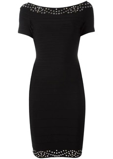 Herve Leger short sleeved fitted dress