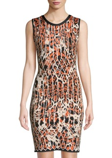 Herve Leger Sleeveless Animal-Print Jacquard Cocktail Dress