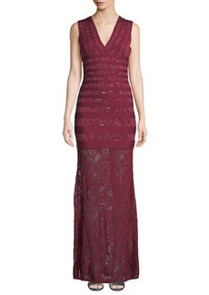 Herve Leger Sleeveless Jacquard Lace Gown
