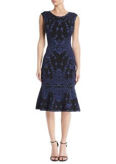 Herve Leger Sleeveless Round-Neck Damask-Jacquard Cocktail Dress