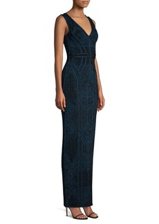 Herve Leger Sleeveless V-Neck Lurex Jacquard Dress