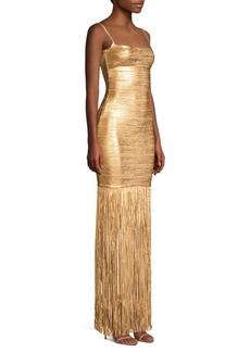 Herve Leger Spaghetti Strap Fringe Bandage Dress