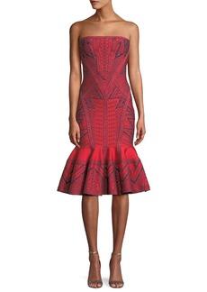 Herve Leger Strapless Geometric-Metallic Jacquard Cocktail Dress w/ Flounce Hem