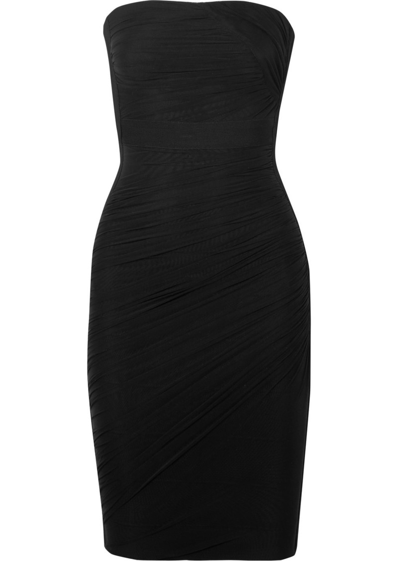 Herve Leger Strapless Ruched Mesh And Bandage Dress