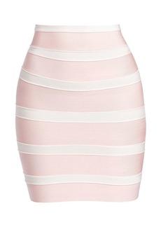 Herve Leger Stripe Mini Bandage Pencil Skirt