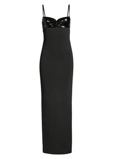 Herve Leger Thin Strap Sequin Bodice Gown