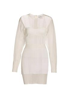 Herve Leger Transparent Ribbed Geometric Mini Dress