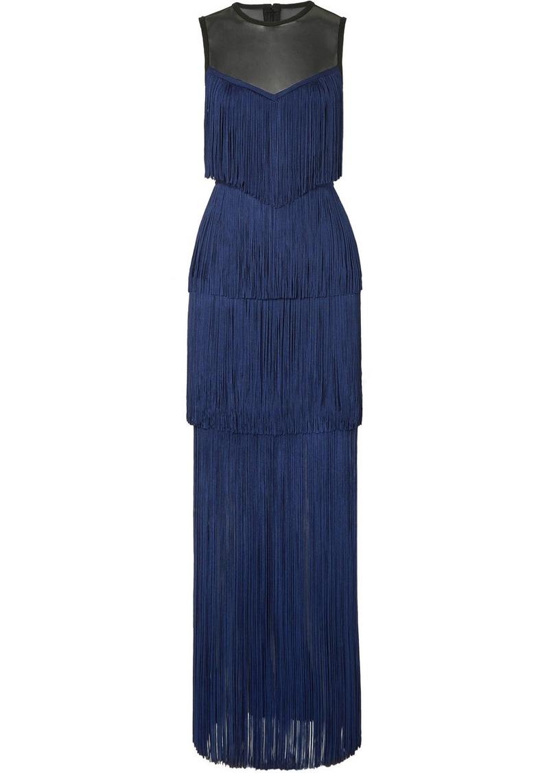 Herve Leger Tulle-paneled Fringed Bandage Gown