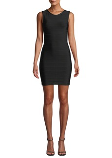 Herve Leger U-Neck Sleeveless Open-Back Mini Dress